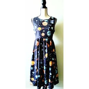 Fit & Flare, Planetary printed Pinup dress